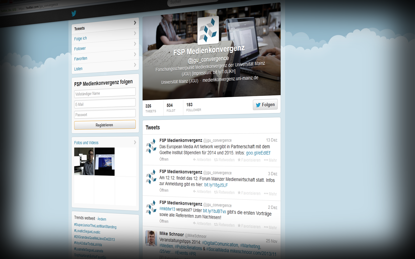 TWITTER: Forschungsschwerpunkt Medienkonvergenz auf Twitter folgen